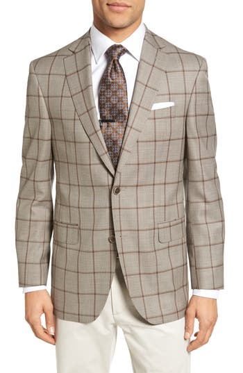 Men's David Donahue Connor Classic Fit Windowpane Wool Sport Coat