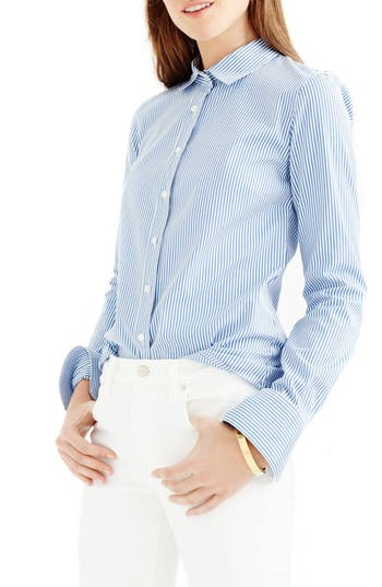 Petite Women's J.crew Perfect Classic Stripe Stretch Cotton Shirt