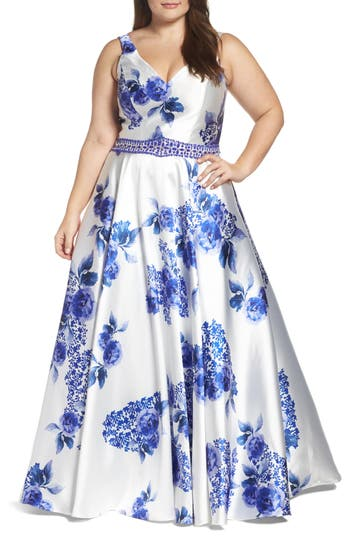 Plus Size Women's MAC Duggal Beaded Floral Ball Gown