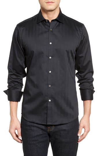 Men's Stone Rose Herringbone Stripe Sport Shirt