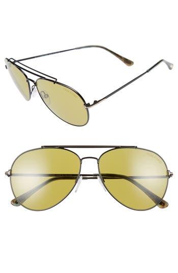 Women's Tom Ford Indiana 60Mm Aviator Sunglasses - Black/ Green Havana/ Green