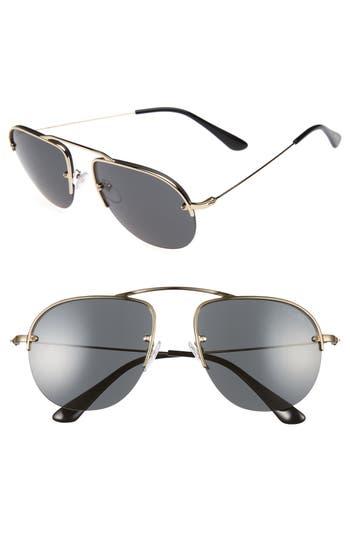 Men's Prada Parallel Universe 55Mm Aviator Sunglasses - Light Gold