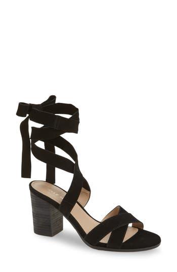 Pelle Moda Bonjour Ankle Wrap Sandal, Black