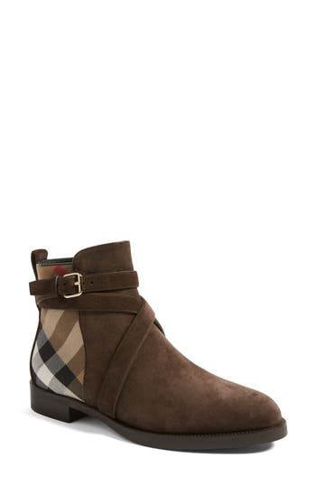 Burberry Check Bootie, Brown