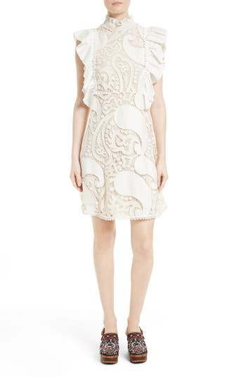Women's See By Chloe Ruffle Lace Shift Dress, Size 8 US / 42 FR - Ivory