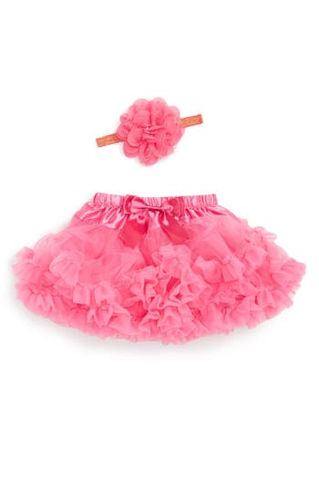 Infant Girl's Popatu Tutu & Floral Applique Head Wrap Set, Size 0-9M - Pink
