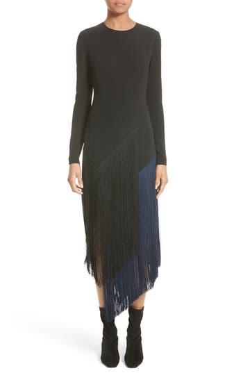 Women's Stella Mccartney Fringe Skirt Stretch Cady Dress, Size 12 US / 46 IT - Black