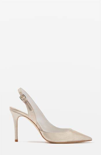 Women's Topshop Bride Bailey Pointy Toe Pumps, Size 6.5US / 37EU - Metallic