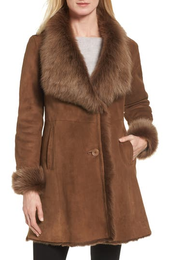 Hiso Genuine Toscana Shearling Wing Collar Coat, Brown