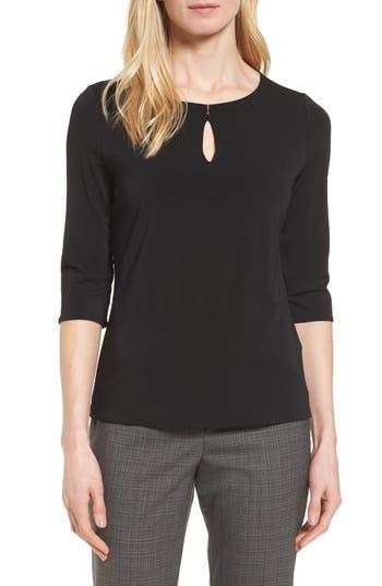 Hugo Boss Fylle Keyhole Virgin Wool Sweater In Black