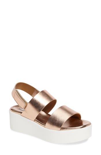 Women's Steve Madden Rachel Platform Wedge Sandal, Size 10 M - Metallic