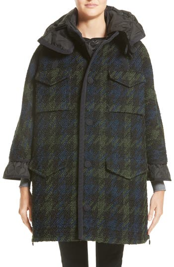 Women's Moncler Euphrasie Wool Blend Houndstooth Coat