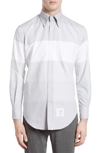 Men's Thom Browne Trim Fit Large Stripe Sport Shirt