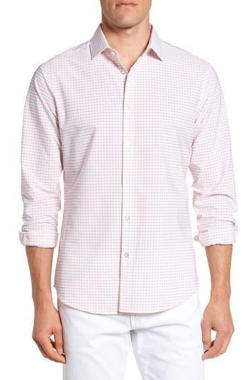 Men's Mizzen+Main Norwalk Windowpane Performance Sport Shirt, Size Medium R - Red