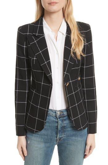 Women's Smythe Duchess Windowpane Linen Blazer, Size 2 - Black
