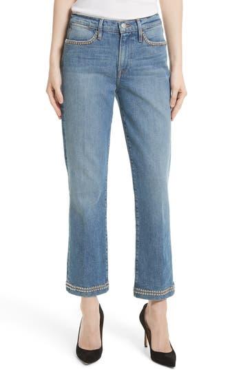 FRAME Le Studded High Straight High Waist Jeans in Anstee