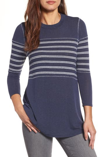 Women's Caslon Stripe Panel Sweater, Size X-Large - Blue