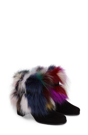Stuart Weitzman Midgofurit Genuine Fox Fur Bootie, Black