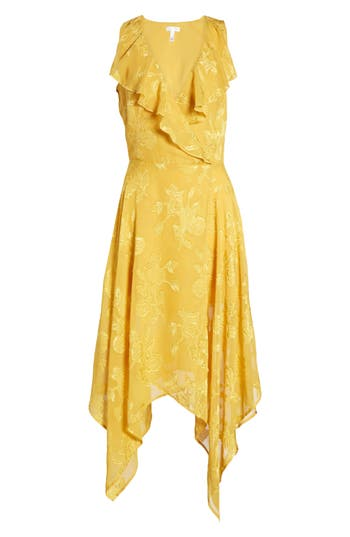 1920s Day Dresses, Tea Dresses, Garden Party Dresses Womens Leith Handkerchief Hem Faux-Wrap Midi Dress Size XX-Large - Yellow $79.00 AT vintagedancer.com