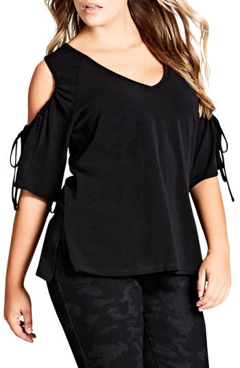 City Chic  DRAWSTRING COLD SHOULDER TOP