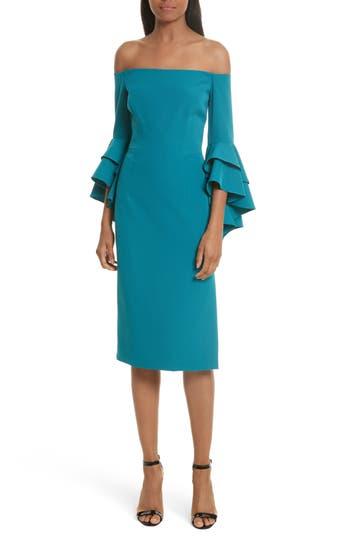 Women's Milly Selena Off The Shoulder Midi Dress