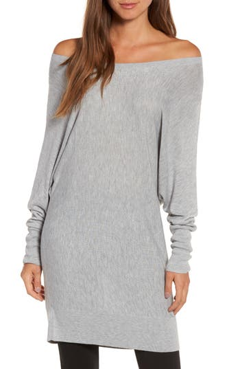 Women's Trouve Off The Shoulder Sweater Tunic, Size XX-Small - Grey