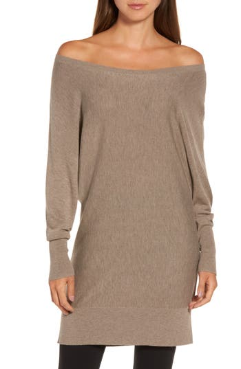 Women's Trouve Off The Shoulder Sweater Tunic, Size XX-Small - Brown