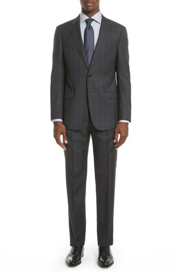 Men's Armani Collezioni G-Line Trim Fit Plaid Wool Suit