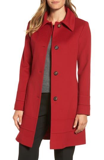 Women's Fleurette Wool Coat, Size 2 - Red