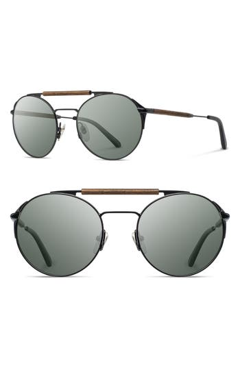 Shwood Bandon 52Mm Round Sunglasses - Black/ Walnut/ G15