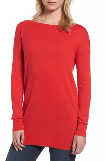 Women's Halogen Boatneck Tunic Sweater, Size X-Small - Red