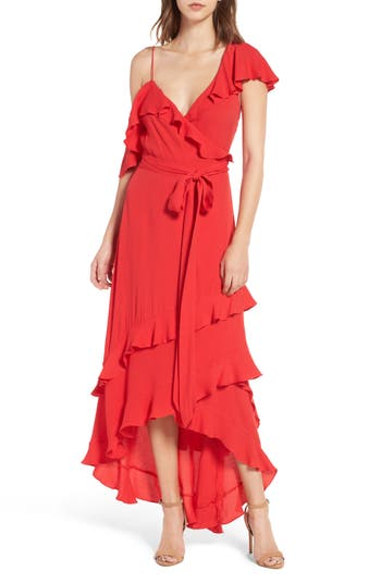 Women's Afrm Phoenix Ruffle Wrap Maxi Dress, Size Medium - Red