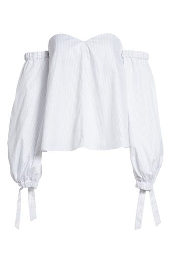 Women's Milly Janey Shirting Stripe Top, Size 0 - Grey