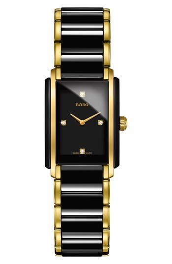 Women's Rado Integral Diamonds Tank Bracelet Watch, 22Mm X 33Mm