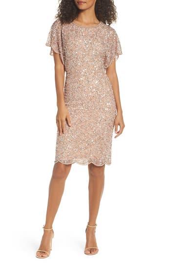 1920s Style Dresses, Flapper Dresses Papell Embellished Flutter Sleeve Cocktail Dress Size 16 - Pink $199.00 AT vintagedancer.com