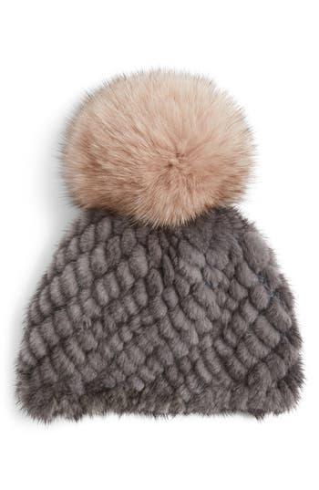 Women's Jocelyn Genuine Mink Fur Beanie With Genuine Fox Fur Pompom - Grey
