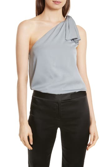 Women's Milly Cindy One-Shoulder Stretch Silk Top, Size Petite - Metallic