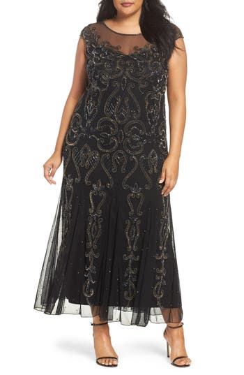 Plus Size Vintage Dresses, Plus Size Retro Dresses Plus Size Womens Pisarro Nights Illusion Neck Beaded A-Line Gown $246.00 AT vintagedancer.com