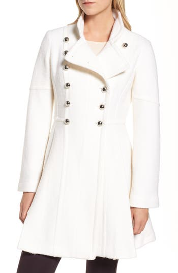 Women's Guess Double Breasted Fit & Flare Coat