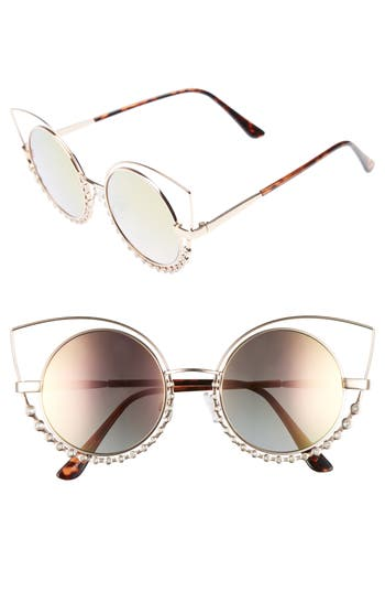 Women's Bp. 55Mm Studded Round Sunglasses - Silver