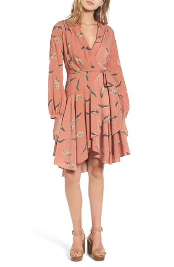 Women's Lost + Wander Amber Print Wrap Dress, Size X-Small - Coral