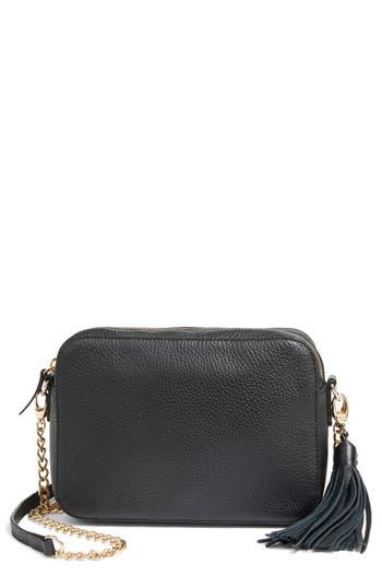Nordstrom Ella Tassel Leather Crossbody Bag - Black