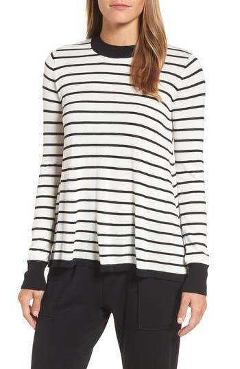 Women's Press Trapeze Fit Stripe Sweater, Size X-Small - Ivory