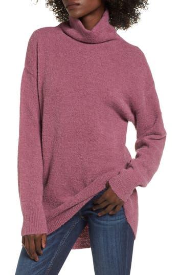 Women's Bp. Boucle Turtleneck Tunic Sweater, Size XX-Small - Purple
