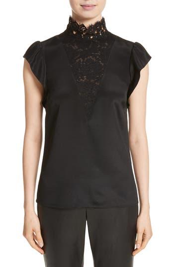 Women's St. John Collection Lace Trim Stretch Silk Crêpe De Chine Top