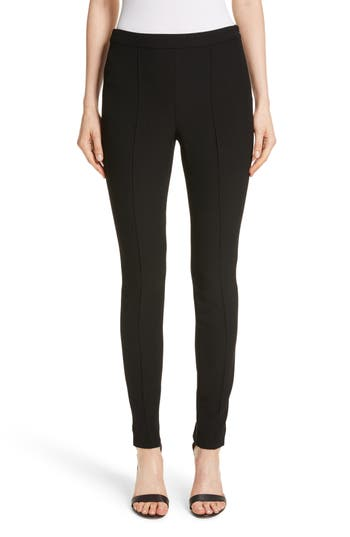 St. John Collection Bella Double Weave Leggings, Black