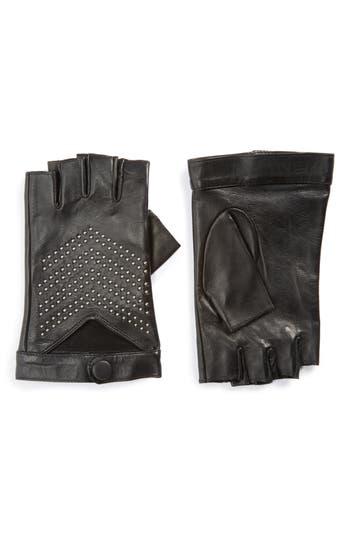 Mackage Swinley Fingerless Lambskin Leather Gloves, Black