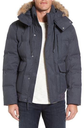 Marc New York Down Herringbone Jacket With Genuine Coyote Fur Trim, Grey