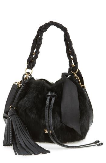 Frances Valentine Small Genuine Rabbit Fur & Leather Bucket Bag - Black