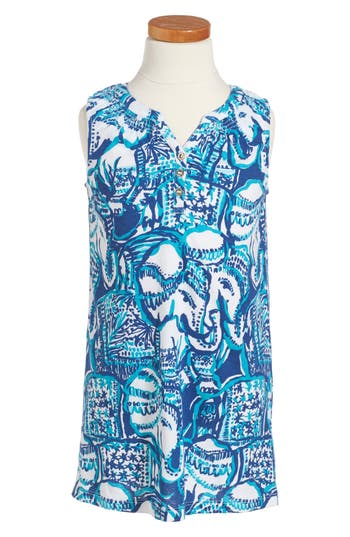 Girl's Lilly Pulitzer Mini Essie Shift Dress, Size S (4-5) - Blue